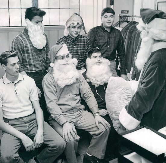 Young men train to be department store Santas at Santa Claus school in 1961.  (William H. Mortimer/Baltimore Sun)