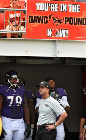 Cleveland, OH--9/18/16-- Ravens head coach John Harbaugh is ready to lead his team onto First Energy Stadium for game against the Browns. (Kenneth K. Lam/Baltimore Sun)