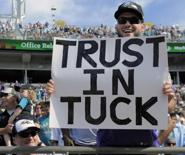 Jacksonville, FL --9/25/16-- A fan of Ravens' kicker Justin Tucker at Ever Bank Field. (Kenneth K. Lam/Baltimore Sun)
