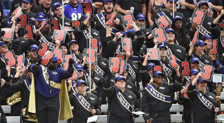 Baltimore, MD --10/2/16-- The Marching Ravens Band members make noise during third down against the Raiders at M & T Bank Stadium. (Kenneth K. Lam/Baltimore Sun)