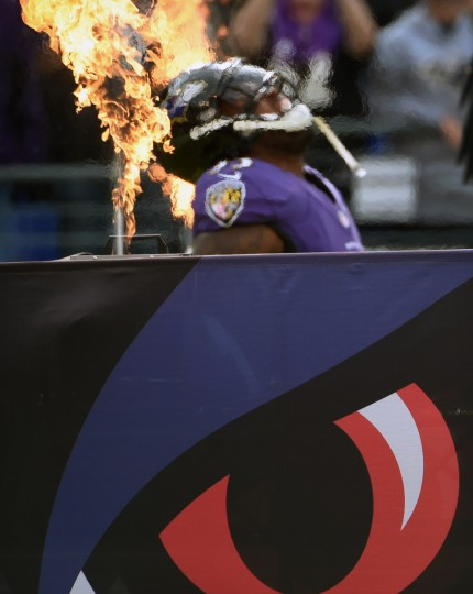 Baltimore, MD --11/6/16-- Ravens' Terrell Suggs dances during player introduction before game against the Steelers at M & T Bank Stadium. (Kenneth K. Lam/Baltimore Sun)