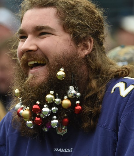 Baltimore, Md.--12/18/16--  A Ravens fan celebrates Christmas by decorating his beard during the Eagles game at M & T Bank Stadium. (Kenneth K. Lam/Baltimore Sun)