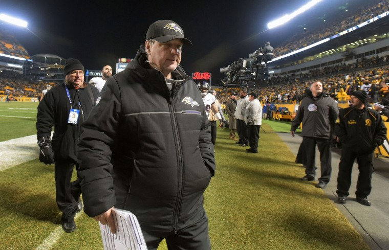 Pittsburgh, Pa.--12/25/16-- Ravens offensive coordinator Marty Mornhinweg walks off Heinz Field after a gut wrenching loss to the Steelers ending the play-off hope for the Ravens. (Kenneth K. Lam/Baltimore Sun)