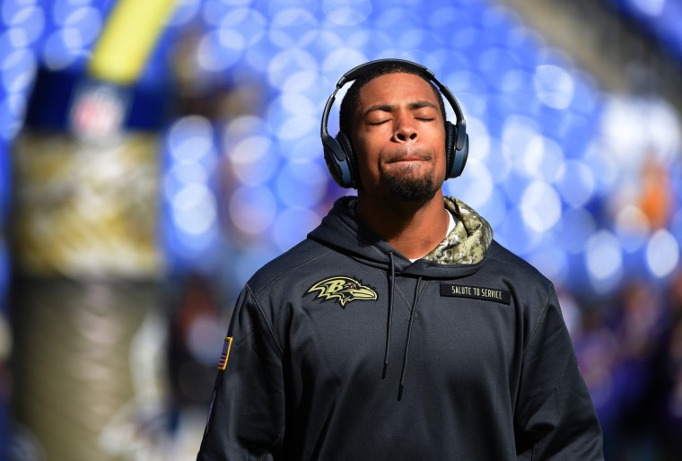Baltimore, Maryland--11/6/16-- Ravens' Asa Jackson before the game against the Pittsburgh Steelers at M&T Bank Stadium.   (Lloyd Fox/Baltimore Sun)