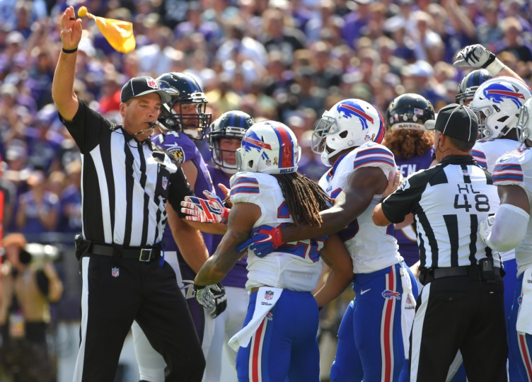 Baltimore, MD---9/11/16--  The Bills are flagged for a personal foul in the second quarter at M&T Bank stadium.    (Lloyd Fox/Baltimore Sun)