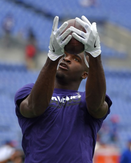 Baltimore, MD---9/11/16--Ravens' #18 Breshad Perriman catches pass during pregame warms ups before playing the Buffalo Bills at M&T Bank Stadium.    (Lloyd Fox/Baltimore Sun)