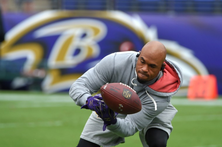 Baltimore, MD---9/11/16--Ravens' Steve Smith Sr. juggles a pass, but makes the catch during pregame warm ups before playing the Buffalo Bills at M&T Bank Stadium.    (Lloyd Fox/Baltimore Sun)