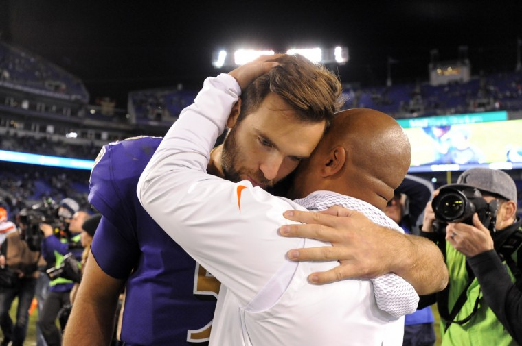Baltimore, Maryland--11/10/16-- Baltimore Ravens' quarterback Joe Flacco gets a hug from Cleveland Brown's head coach Hue Jackson after the game. (Lloyd Fox/Baltimore Sun)