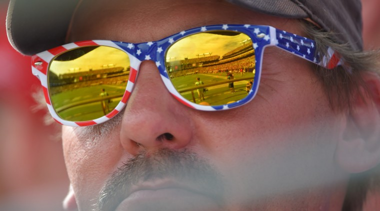Baltimore, MD--- 9/11/16-- M&T Bank Stadium is reflected in the glasses of a fan during the Baltimore Ravens vs. Buffalo Bills NFL football at M&T Bank stadium.   (Lloyd Fox/Baltimore Sun)