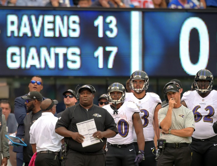 East Rutherford, NJ---10/16/16-- Ravens' head coach John Harbaugh and other members of his staff and team watch as they fall to the Giants at MetLife Stadium.     (Lloyd Fox/Baltimore Sun)
