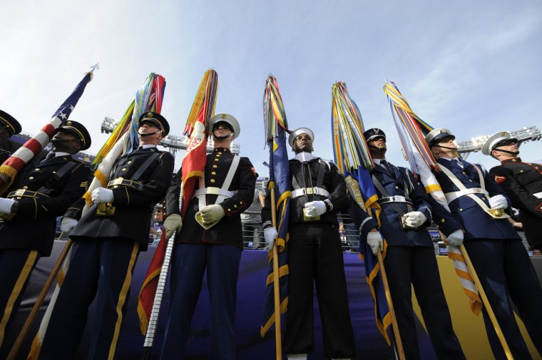Baltimore, Maryland--11/6/16--The Honor Guard waits for pregame ceremonies to begin on November 6 prior to the Baltimore Ravens vs. Pittsburgh Steelers at M&T Bank Stadium.  (Lloyd Fox/Baltimore Sun)