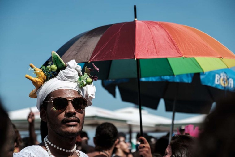 A reveller takes part in the 21st Rio LGBT pride parade at Copacabana beach in Rio de Janeiro, Brazil, on December 11, 2016. (YASUYOSHI CHIBA/AFP/Getty Images)
