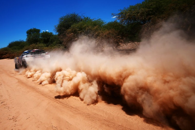 Stephane Peterhansel of France and Peugeot Total drives with co-driver Jean Paul Cottret of France in the 3008 DKR Peugeot car in the Classe : T1.4 2 Roues Motrices, Diesel during stage two of the 2017 Dakar Rally between Resistencia and San Miguel de Tucuman on January 3, 2017 at an unspecified location in Argentina. (Dan Istitene/Getty Images)