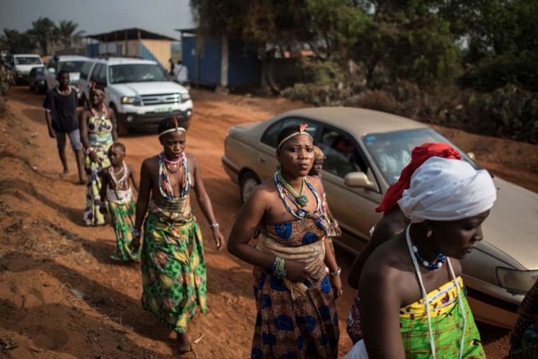 People from across Benin arrive at Ouidah for the annual Voodoo Festival on January 10, 2017 in Ouidah. (STEFAN HEUNIS/AFP/Getty Images)