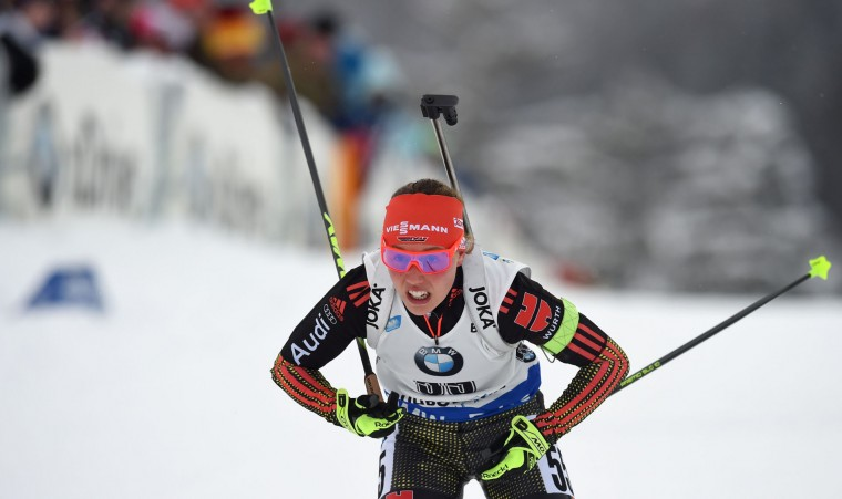 German Laura Dahlmeier competes during the women 7,5 km sprint competition of the Biathlon World Cup on January 14, 2017, in Ruhpolding, southern Germany. (Christof Stache/AFP/Getty Images)