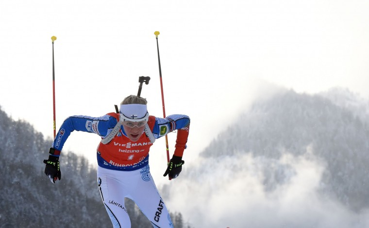 Finland's Kaisa Makarainen competes during the women's 10 km pursuit competition of the Biathlon World Cup on January 15, 2017, in Ruhpolding, southern Germany. (Christof Stache/AFP/Getty Images)