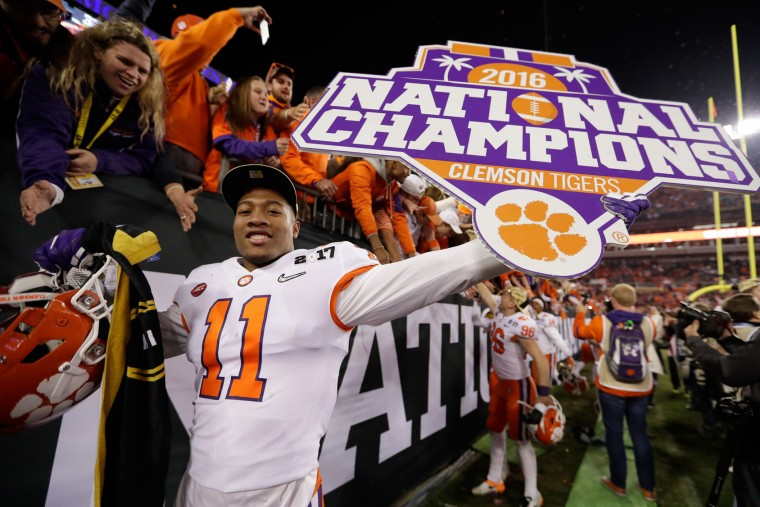 Safety Isaiah Simmons #11 of the Clemson Tigers celebrates after defeating the Alabama Crimson Tide 35-31 to win the 2017 College Football Playoff National Championship Game at Raymond James Stadium on January 9, 2017 in Tampa, Florida. (Photo by Jamie Squire/Getty Images)