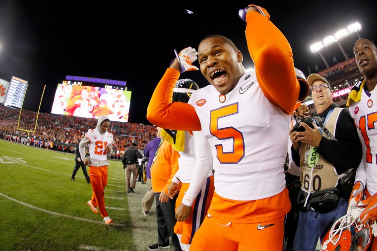 Linebacker Shaq Smith #5 of the Clemson Tigers celebrates after quarterback Deshaun Watson #4 (not pictured) threw a 2-yard game-winning touchdown pass to wide receiver Hunter Renfrow #13 (not pictured) during the fourth quarter against the Alabama Crimson Tide to win the 2017 College Football Playoff National Championship Game 35-31 at Raymond James Stadium on January 9, 2017 in Tampa, Florida. (Photo by Kevin C. Cox/Getty Images)