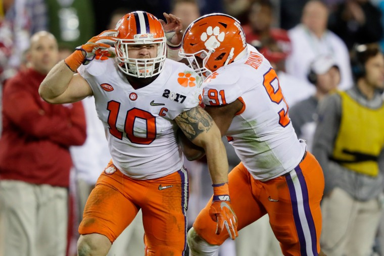 Linebacker Ben Boulware #10 of the Clemson Tigers reacts during the second half against the Alabama Crimson Tide in the 2017 College Football Playoff National Championship Game at Raymond James Stadium on January 9, 2017 in Tampa, Florida. (Photo by Jamie Squire/Getty Images)
