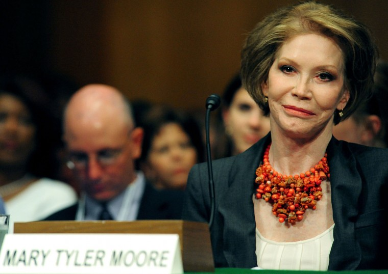 "(FILES) This file photo taken on June 24, 2009 shows US actress Mary Tyler Moore during Senate Homeland Security and Government Affairs Committee hearings on Capitol Hill in Washington, DC.  Legendary actress Mary Tyler Moore, who delighted a generation of Americans with her energetic comic performances, died January 25, 2017 after suffering years of ill health, according to US media reports. She was 80. Moore's eponymous sitcom ran for seven seasons in the 1970s and was named by Time Magazine as one of 17 shows that ""changed television."" She had been battling diabetes for years and underwent brain surgery in 2011. She was suffering from ""a number of health problems"" and died in hospital in Connecticut, celebrity news website TMZ and the Los Angeles Times reported.  (Karen Bleier/AFP/Getty Images)"