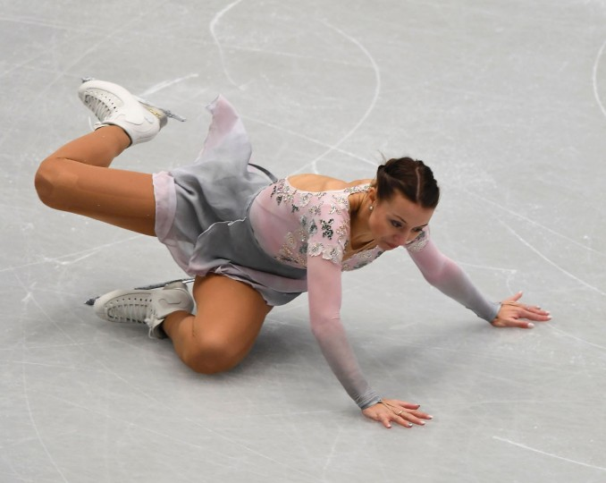 Germany's Nicole Schott falls as she competes during the ladies free skating competition of the European Figure Skating Championship in Ostrava, Czech Republic on January 27, 2017. (Joe Klamar/AFP/Getty Images)