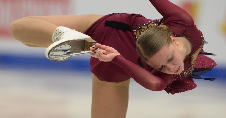 Anastasia Galustyan of Armenia competes during the ladies free skating competition of the European Figure Skating Championship in Ostrava, Czech Republic on January 27, 2017. (Michal Cizek/AFP/Getty Images)