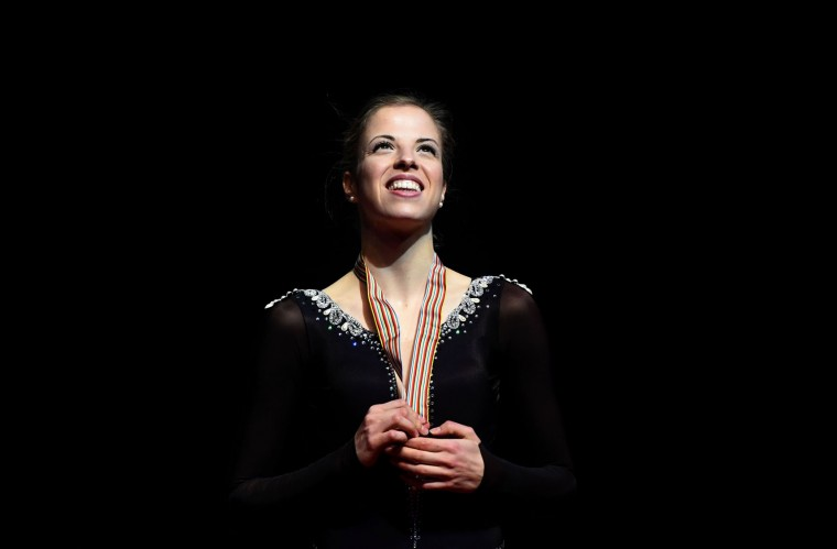 Carolina Kostner of Italy smiles during the medal ceremony after the ladies free skating competition of the European Figure Skating Championship in Ostrava, Czech Republic on January 27, 2017. (Michal Cizek/AFP/Getty Images)
