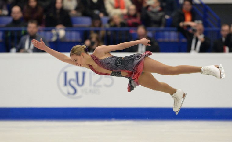 Russia's Anna Pogorilaya competes during the ladies free skating competition of the European Figure Skating Championship in Ostrava, Czech Republic on January 27, 2017. (Michal Cizek/AFP/Getty Images)