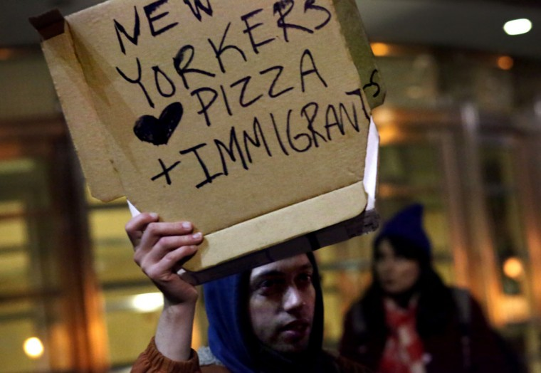 BROOKLYN - JANUARY 28: A crowd of protesters gathers outside of the Brooklyn Federal Courthouse as a judge hears a challenge against President Donald Trump's executive ban on immigration from several Muslim countries, on January 28, 2017 in Brooklyn. The judge issued an emergency stay on part of Trump's executive order, ruling that sending refugees stopped at U.S. airports back to their countries would be harmful. (Photo by Yana Paskova/Getty Images)