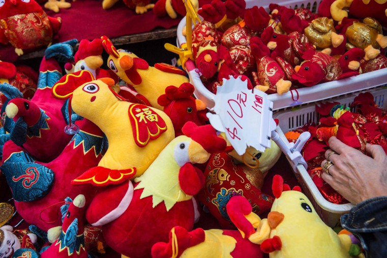 This picture taken on January 21, 2017 shows soft toys for sale at a stall in Hong Kong ahead of the Year of the Rooster as the 2017 Lunar New Year approaches. US President Donald Trump will strut through the Year of the Rooster, thriving as Hong Kong geomancers predict 2017 will be marked by the arguments and aggression -- characteristics attributed to the animal. (Isaac Lawrence/AFP/Getty Images)