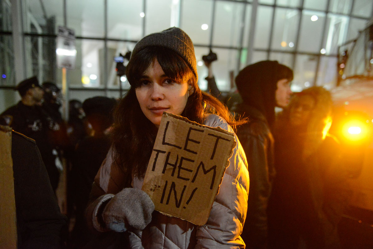 Protesting Trump's travel restrictions at airports around the U.S.