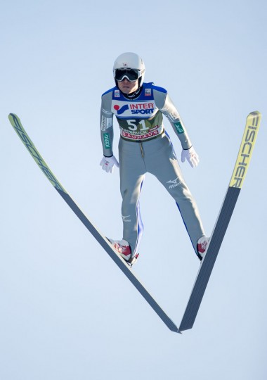 Daiki Ito of Japan soars through the air during his qualification jump of the ski jumping event in Innsbruck, which is the third station of the Four-Hills Ski Jumping tournament Vierschanzentournee), on January 3, 2017. (Jakob Gruber/AFP/Getty Images)