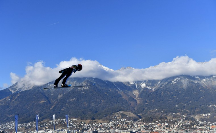 Konstantin Sokolenko of Kazakhstan soars through the air during his trial jump of the ski jumping event in Innsbruck, which is the third station of the Four-Hills Ski Jumping tournament (Vierschanzentournee), on January 3, 2017. (Barbara Gindl/AFP/Getty Images)