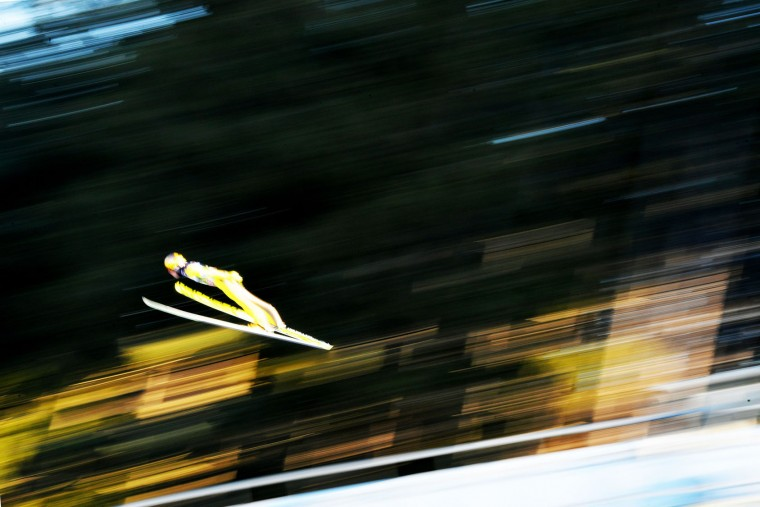 Noriaki Kasai of Japan soars through the air during his trial jump of the ski jumping event in Innsbruck, which is the third station of the Four-Hills Ski Jumping tournament (Vierschanzentournee), on January 3, 2017. (Barbara Gindl/AFP/Getty Images)