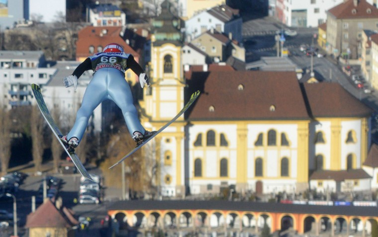 Markus Eisenbichler of Germany competes during a training session of the Four Hills competition (Vierschanzentournee) of the FIS Ski Jumping World Cup in Innsbruck on January 3, 2017. The third competition of the Four-Hills Ski jumping event takes place in Innsbruck before the tournament continues in Bischofshofen (Austria). (Michal Cizek/AFP/Getty Images)