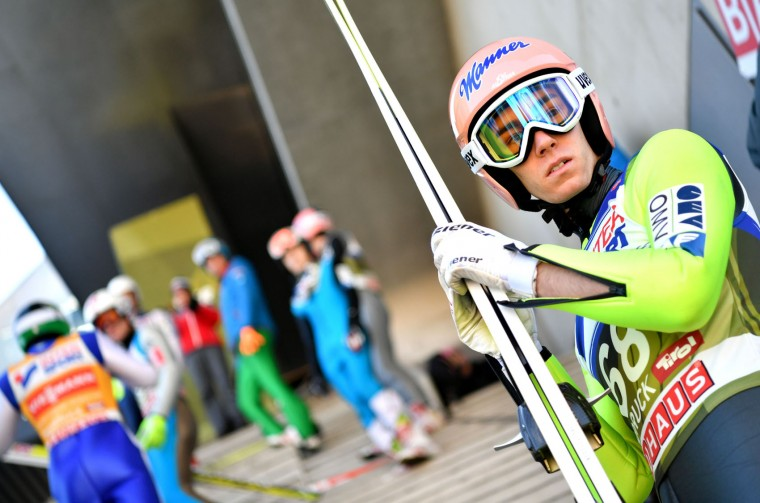 Stefan Kraft of Austria prepares during a training session of the Four Hills competition (Vierschanzentournee) of the FIS Ski Jumping World Cup in Innsbruck on January 3, 2017. The third competition of the Four-Hills Ski jumping event takes place in Innsbruck before the tournament continues in Bischofshofen (Austria). (Barbara Gindl/AFP/Getty Images)