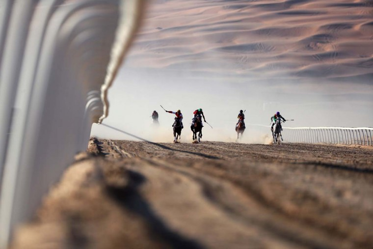 Jockeys compete in a race for purebred Arab horses during the Liwa 2017 Moreeb Dune Festival on January 3, 2017, in the Liwa desert, some 250 kilometers west of the Gulf emirate of Abu Dhabi. The festival, which attracts participants from around the Gulf region, includes a variety of races (cars, bikes, falcons, camels and horses) or other activities aimed at promoting the country's folklore. (KARIM SAHIB/AFP/Getty Images)