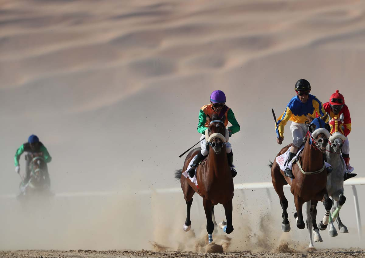 Jockeys, purebred Arab horses turn out for Liwa Moreeb Dune Festival