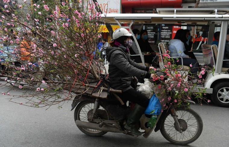 A farmer riding a motorcycle transports blossoms for sale along a street in downtown Hanoi on January 23, 2017, as Vietnamese prepare to celebrate the Lunar New Year or Tet later this week. Known locally as Tet, the celebration of the Lunar New Year is Vietnam's most important holiday and triggers a surge in consumption and travel ahead of an extended nationwide shutdown. (Hoang Dinh Nam/AFP/Getty Images)