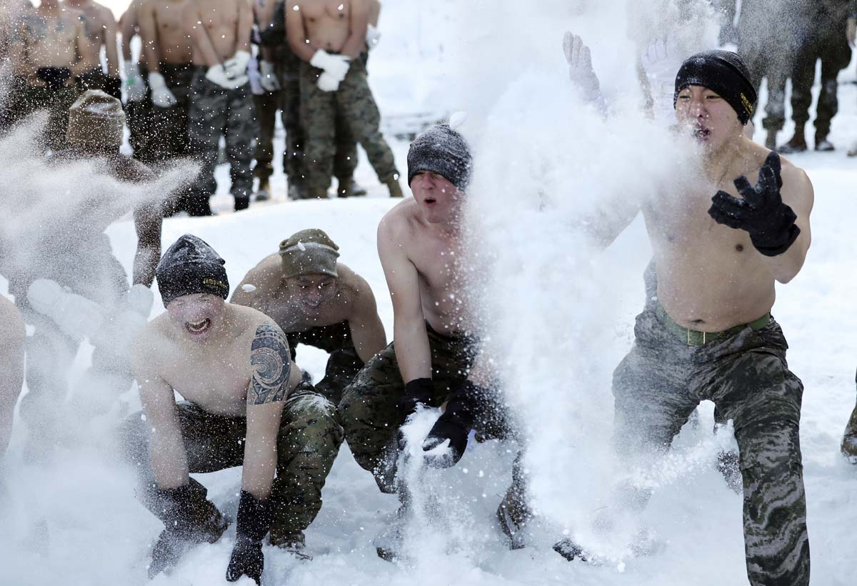 Winter military exercise with South Korean and U.S. Marines