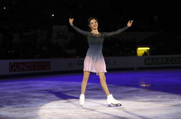 Gold medalist Russia's Evgenia Medvedeva greets spectators after her free program at the European Figure Skating Championships in Ostrava, Czech Republic, Friday, Jan. 27, 2017. (AP Photo/Petr David Josek)