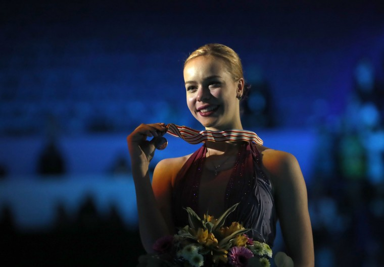 Russia's Anna Pogorilaya displays her silver medal after her free program at the European Figure Skating Championships in Ostrava, Czech Republic, Friday, Jan. 27, 2017. (AP Photo/Petr David Josek)