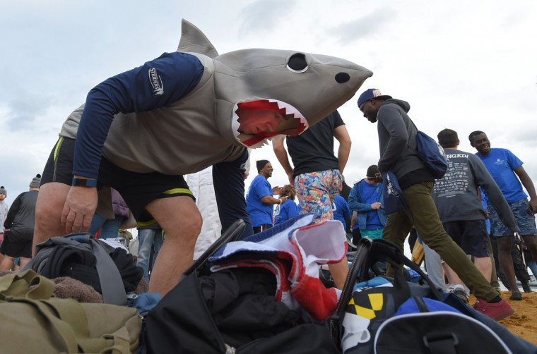 Tom Walker of Germantown gets ready to head in for the Corporate Plunge. (Lloyd Fox/Baltimore Sun)