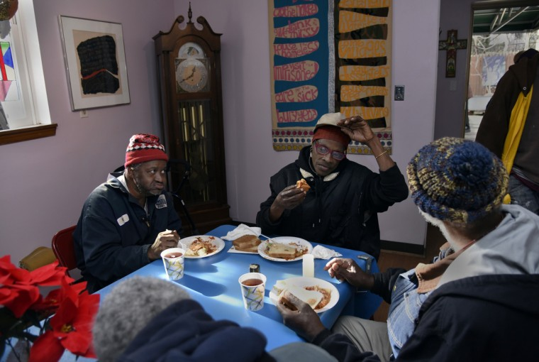 Left to right: Reginald Simms, Carolyn Epps and John Harrison of Baltimore have an afternoon meal at Viva House. (Barbara Haddock Taylor/Baltimore Sun)