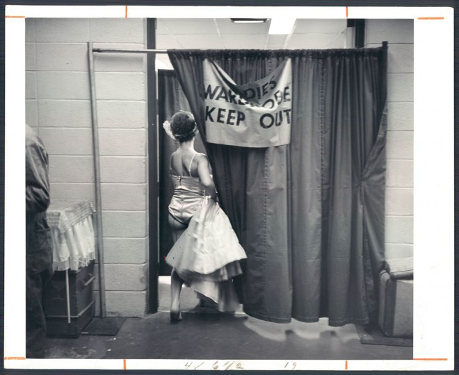 1966: A temporary curtain marks off the Ladies Wardrobe section and warns all others to Keep Out. (Baltimore Sun)