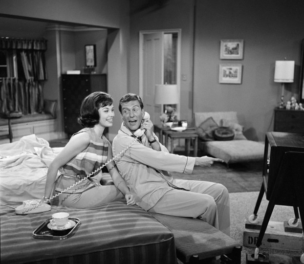 "LOS ANGELES - JUNE 19: THE DICK VAN DYKE SHOW episode: ""The Meershatz Pipe"" featuring Dick Van Dyke (as Rob Petrie) and Mary Tyler Moore (as Laura Petrie) . Image dated June 19, 1961. (Photo by CBS via Getty Images)"