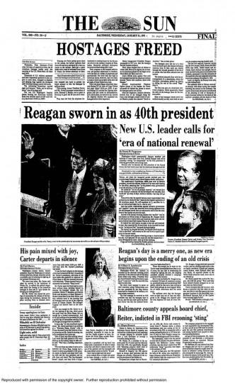 Ronald Reagan. Jan. 21, 1981.