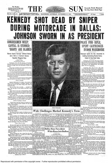 John F. Kennedy assassinated. Lyndon Johnson takes over.