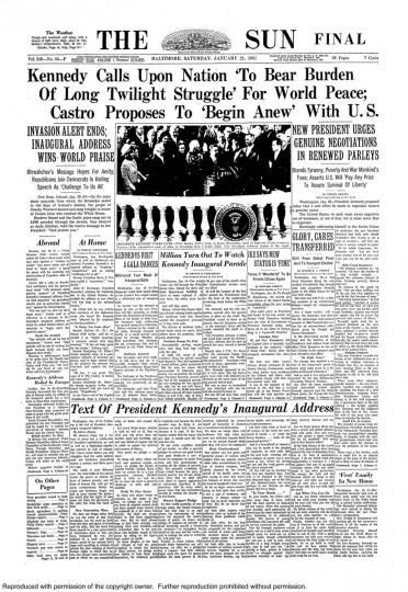 John F. Kennedy. Jan. 21, 1961.