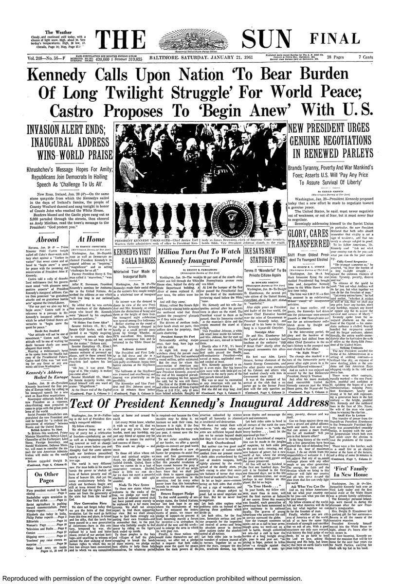 Transfer of power: Past Sun covers of presidential inaugurations